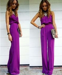 20 Stylish Wedding Guest Looks We're Pinning Right Now - Wedding Party. That royal purple jumpsuit though, I NEED IT. Looks Style, My Style, Goth Style, Daily Style, Curvy Style, Looks Pinterest, Wedding Guest Looks, Perfect Wedding, Jumpsuit For Wedding Guest