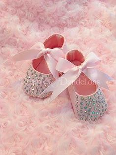 #Pink Crib Shoes with Crystal Bling on Toes