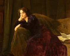 Unsolved (c.1903). Thomas Edwin Mostyn (English, 1864-1930). Oil on canvas. Merthyr Tydfil Leisure Trust.  Mostyn leads the viewer to speculate what is unsolved, as the title so indicates. The woman has been reading, has marked her place, and has set the book aside. Source: books0977