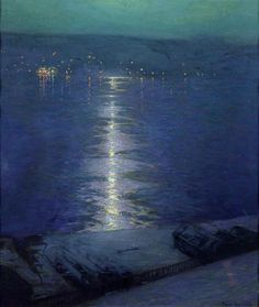 """""""Moonlight on the River"""" by Lowell Birge Harrison, c. 1919"""