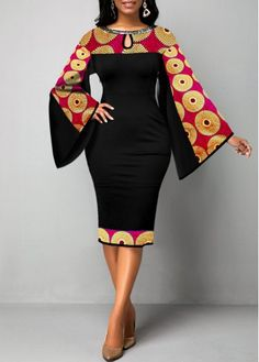 Tribal Print Keyhole Neckline Flare Sleeve Dress Women Clothes For Cheap, Collections, Styles Perfectly Fit You, Never Miss It! Short African Dresses, Latest African Fashion Dresses, African Print Dresses, African Print Fashion, Women's Fashion Dresses, African Dress Designs, Africa Fashion, Latest Dress, African Ankara Styles