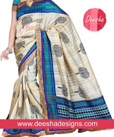 Call at +91 901- 007-3603 #DeeshaDesigns #IndianSaree #PartyWear #DesignerSaree Look at this saree that is designed in cream color with bunch of trees on the saree and the border, it's elegantly designed with gold color on the corners. It is designed with blue and black checks for that pretty style. www.deeshadesigns.com