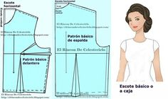 Patrón básico delantero de blusa con pinza de costado o lateral (Método actualizado) Dress Patterns, Sewing Patterns, Sewing Hacks, Sewing Tips, Designer Dresses, Collars, Barbie, Neckline, Womens Fashion