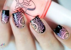 In search for some nail designs and ideas for the nails? Here is our list of 40 must-try coffin acrylic nails for fashionable women. Es Nails, Hair And Nails, Cute Nails, Pretty Nails, Mandala Nails, Nagel Hacks, Stamping Nail Art, Nagel Gel, Creative Nails