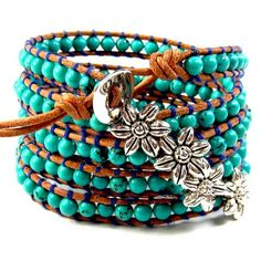 """Leather Bead Bracelet Five Wrap, Sterling and  Turquoise  36""""   