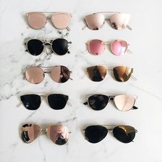 all types of glasses In magazines and social media recently we have been seeing tons of statement sunglasses. People are wearing simple outfits and using sunglasses as the statement. Cute Sunglasses, Ray Ban Sunglasses, Sunglasses Women, Summer Sunglasses, Sunglasses Outlet, Mirrored Sunglasses, Trending Sunglasses, Black Sunglasses, Mirrored Aviators