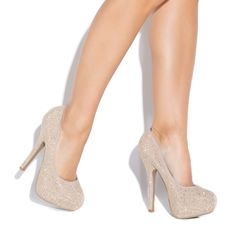 Love these nude heels with a bit of sparkle.