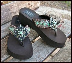 turquoise and bronze...Bella Turquesa Flip Flops-cowgirl