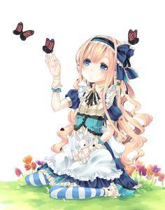 ✮ ANIME ART ✮ Alice in Wonderland. . .Alice. . .White Rabbit. . .long hair. . .dress. . .corset. . .apron. . .ruffles. . .lace. . .headband. . .ribbons. . .striped socks. . .flowers. .. butterflies. . .fairy tale. . .cute. . .kawaii