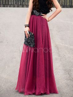 [$54.99] Bohemian Style Ruffles Chiffon Skirt For Women