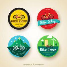 Set de pegatinas de cuatro bicicletas Vector Gratis