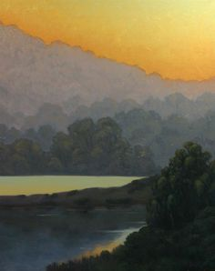 Northern California landscape paintings, Tomales Bay, Marin county landscape painting, Sunset glow on Tomales Bay http://terrysauve.com