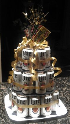 Beer Can Birthday Cake...I've finally made something I pinned a while ago.