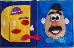 mr potato head Quiet Book Page This is TOO cute.maybe Brooke could do this one as a project for her younger brothers. Diy Quiet Books, Baby Quiet Book, Felt Quiet Books, Book Activities, Toddler Activities, Activity Books, Indoor Activities, Summer Activities, Sensory Book
