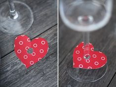 """Inspiration: decorate your wine glasses with paper hearts. Punch a hole in the middle and make a slit to the top to attach the heart to the glass. Could also write bride and groom's names or initials and date or """"love"""" or guest's names on these."""