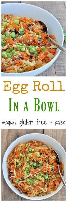Vegan Egg Roll in a bowl. All the goodness from the inside of the egg roll, but without the fried wrappers! Vegan, gluten free and paleo, healthy dinner recipe. Veggie Recipes, Whole Food Recipes, Vegetarian Recipes, Cooking Recipes, Healthy Recipes, Vegan Cabbage Recipes, Vegan Cabbage Rolls, Vegetarian Burrito, Raw Recipes