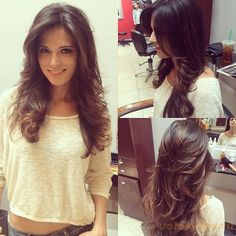 Hairstyles for long hair with layers for round faces - Haar Ideen - Hairstyles For Round Faces, Pretty Hairstyles, Easy Hairstyle, Long Layered Haircuts, Layered Hairstyles, Haircut And Color, New Haircuts, Hairstyles Haircuts, Long Hair Cuts