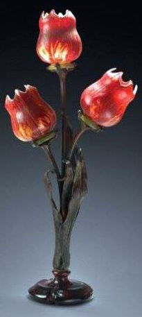 Art Nouveau - Lampe '3 Tulipes' - Pâte de Verre - Emile Gallé