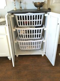 "love this Laundry Basket ""Dresser"" with Doors.  By JenSimmons on Ana White Homemaker via Dwelling by Design"