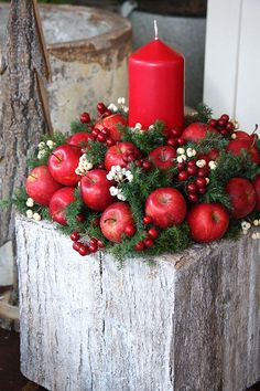Red Candle With Apples Christmas Centerpiece #Christmasdecor #Christmas #red #reddecor #decorhomeideas Christmas Candle Decorations, Christmas Flower Arrangements, Christmas Candles, Homemade Decorations, Floral Arrangements, Noel Christmas, Rustic Christmas, Christmas Wreaths, Christmas Crafts