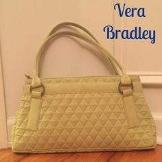 """Vera Bradley Purse Great Condition!!!  Beautiful Lime Green in color. Silver tone hardware, exterior magnetic pocket, dual shoulder straps and zip closure. Interior is a beautiful blue color with 2 slip pockets. No stains, rips or tears. Measures 15""""x8""""x2.5"""". Priced to sell!!! Vera Bradley Bags Shoulder Bags"""