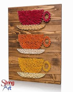 String Art DIY Kit Coffee Cups String Art by StringoftheArt