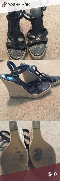 """Banana Republic espadrille, wedged sandal Banana Republic dark brown espadrille, wedged sandal. Size 9 with 4"""" platform style heels. Very worn but in excellent shape! Banana Republic Shoes Wedges"""