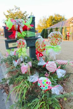 #Christmas cottage tour. Faux candy, diy with foam and wrapping paper.