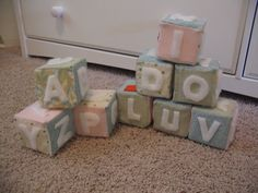 Seeds of the Heart: Homemade Blocks  Make some cute fabric blocks yourself using scraps of fabric and foam.