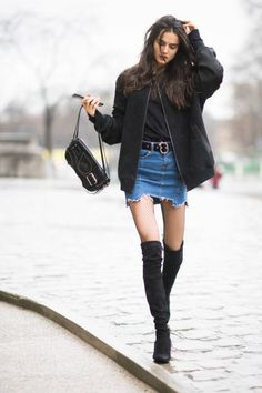 Blanca Padilla before the Elie Saab show wearing a jeans skirt and overknee boots in the streets of Paris during Paris Fashion Week Womenswear...