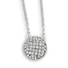 Pave Pizzazz Collection; Sterling Silver set 16 in. + 2 in. Micro Pave CZ Necklace