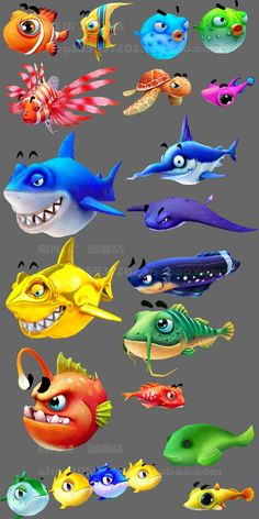 dessins poissons Fish Drawings, Cartoon Drawings, Cartoon Art, Drawn Fish, Cartoon Fish, Drawing Clipart, Simple Cartoon, Game Character Design, Cool Animations