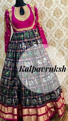 Ikat pattu anarkali with heavy embroidery at yoke and sleeves. Party wear anarkali