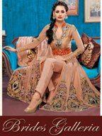 Deep Peach Net Anarkali Suit