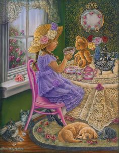 """""""Tea Party With Teddy,"""" ~ Tricia Reilly-Matthews Illustrations, Illustration Art, Happy Birthday Little Girl, Decoupage, Tea Art, Vintage Cards, Vintage Children, Pretty Pictures, Diy Painting"""