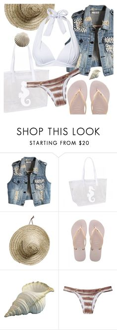 """""""down on the beach"""" by sanddollardubai ❤ liked on Polyvore featuring Havaianas and ViX"""