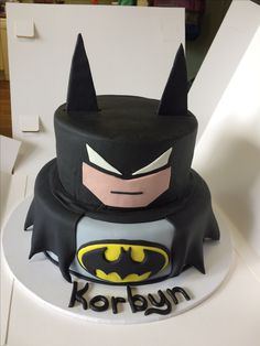 Batman cake made for a friend's nephew.