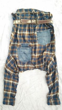 Haremshose Pumphose Pluderhose Upcycling Gr.38/ 40/ 42 karo Jaensblau braun in Kleidung & Accessoires, Damenmode, Hosen | eBay