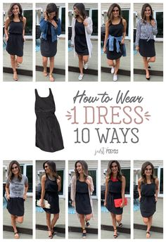 How to Wear and style 1 Black Dress 10 Different Ways - Every wardrobe needs a favorite little black dress and this one is perfect to dress up or down! It is a great item for spring or summer and for a capsule wardrobe. Such an affordable black dress too!