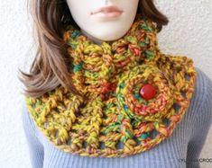 Crochet Cowl Pattern Chunky Scarf Pattern by LyubavaCrochet Col Crochet, Chunky Crochet Scarf, Crochet Gifts, Crochet Scarves, Diy Scarf, Cowl Scarf, Easy Crochet Patterns, Crochet Designs, Crochet Neck Warmer