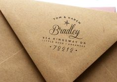 Custom Return Address Rubber Stamp by MarketHouseStudio - A great addition to your wedding invitations and reply cards.