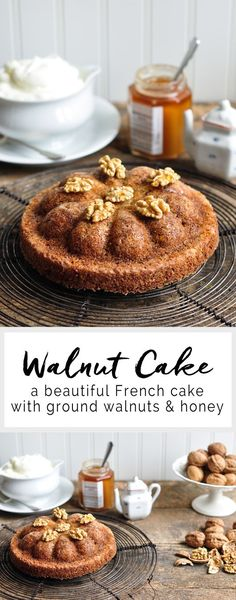 A delicious and moist Walnut Cake using seasonal walnuts, rum and honey. This simple cake looks stunning baked in a bundt pan. Recipe adapted from Mimi Thorisson. Best Dessert Recipes, Easy Desserts, Delicious Desserts, Cake Recipes, Baking Desserts, Cupcakes, Cupcake Cakes, Cheesecakes, Mimi Thorisson