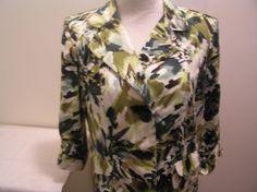 Dressbarn Womens Blazer Jacket L Large Green Floral Button Front Double Pockets #Dressbarn #Blazer