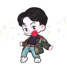 in fanart exo Kpop Drawings, Cute Drawings, Baekhyun, Hunhan, Chansoo, Exo Ot12, Exo Cartoon, Exo Stickers, Chibi