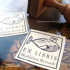 Whale: personalised stamp 4x4 cm by lida21 on Etsy