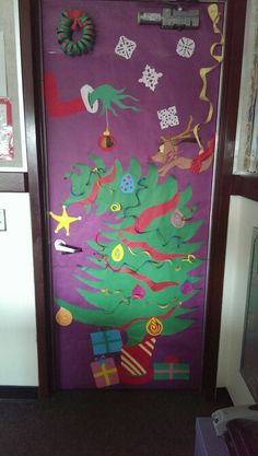 Grinch theme classroom door decoration