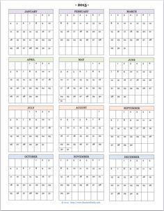 yearly calendar template 2015