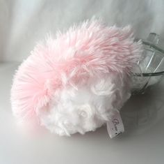 Powder Puff shaggy pink and white body pouf by BonnyBubbles. $9.00, via Etsy.