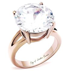 A Perfect 7CT 14K Gold Round Cut Solitaire Split Shank Russian Lab Diamond Ring