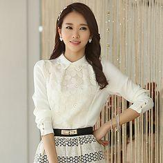 ICED™ Women's Lace Chiffon Puff Sleeve Shirt – USD $ 26.99
